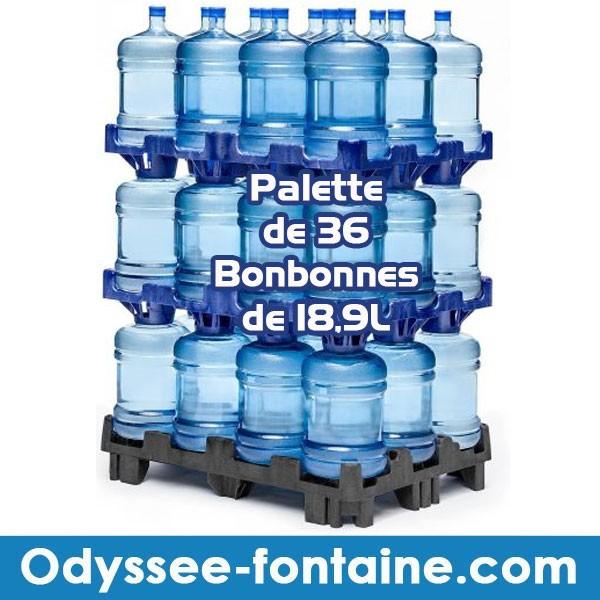 Palette de 36 bonbonnes à eau de source ODYSSEO consignée