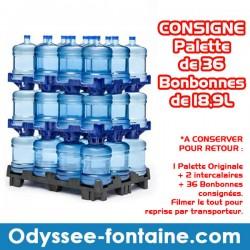 Consigne Palette de 36 bonbonnes à eau de source ODYSSEO