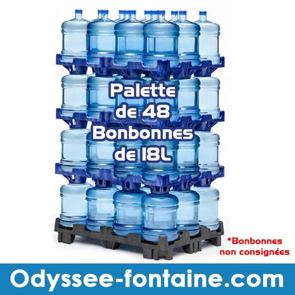 Palette de 48 Bonbonnes à eau de source 18L pleine